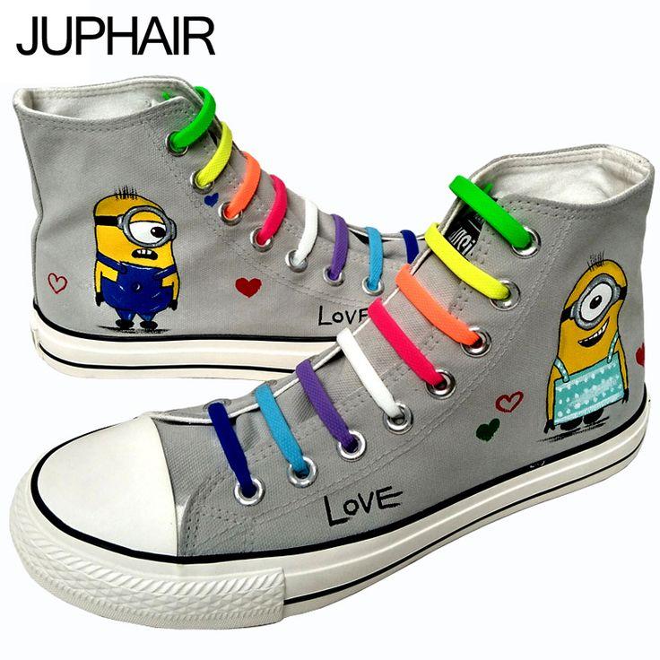Custom Hand Painted Footwear with Lazy Shoelace //Price: $98.82 & FREE Shipping //     #bob #minionlove #minionsmovie #minionslove #funny #kevin