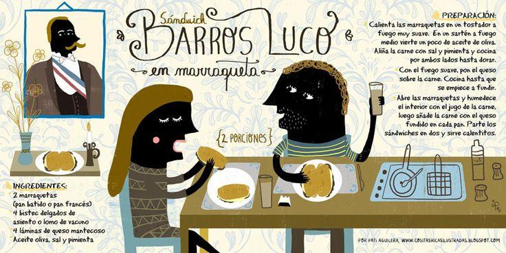 Barros Luco en Marraqueta por Pati Aguilera _cositas ricas ilustradas