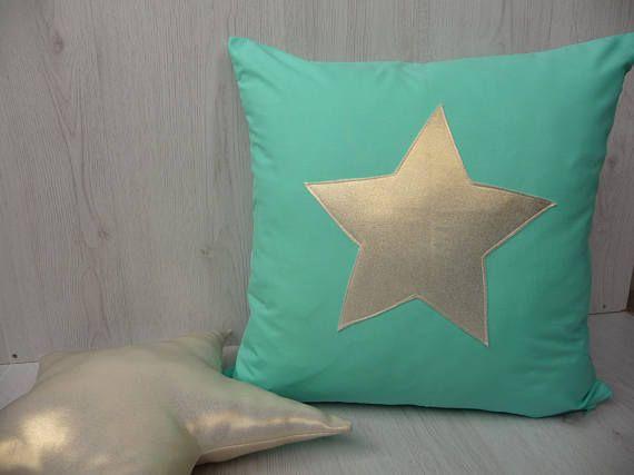Menta la funda de almohada con estrella de oro almohada
