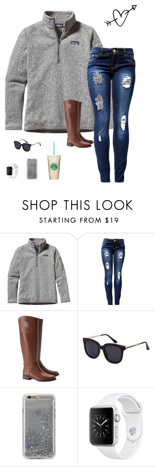 """Kinda like this"" by mariaaa2003 ❤ liked on Polyvore featuring Patagonia, Tory Burch and Agent 18"