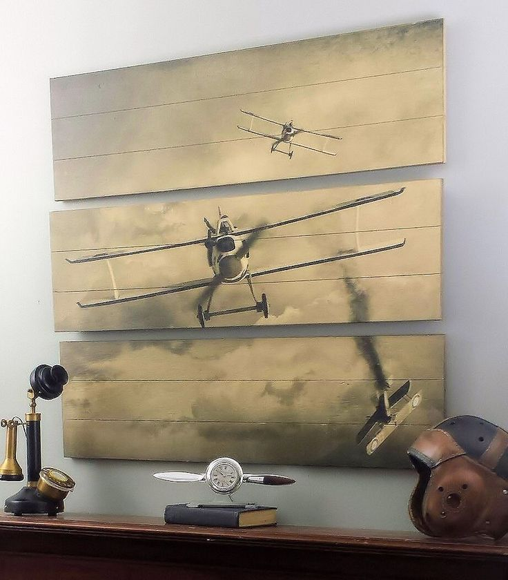 51 best images about aviation decor on pinterest world war i ejection seat and hangers - Vintage airplane triptych ...