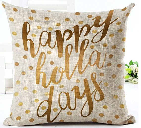 Happy Holidays. LUXURIOUS Christmas throw pillow covers, Cushion/Pillow Cover 18 x 18 Inch