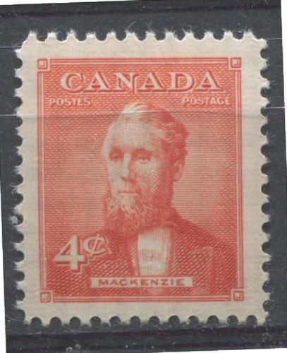 Alexander Mackenzie, the second prime minister of Canada. Issued in 1952 as part of a five year series featuring Canada's prime ministers.