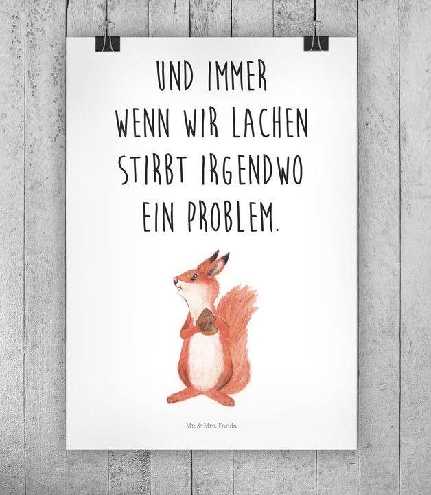 Spruch Motivation als Wanddeko für Zuhause mit süßer Illustration / illustrated squirrel and motivational saying made by small-world via DaWanda.com