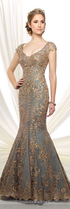 Formal Evening Gowns by Mon Cheri - Fall 2016 - Style No. 216D44 - aqua taffeta and tulle trumpet evening gown with bronze hand-beaded lace