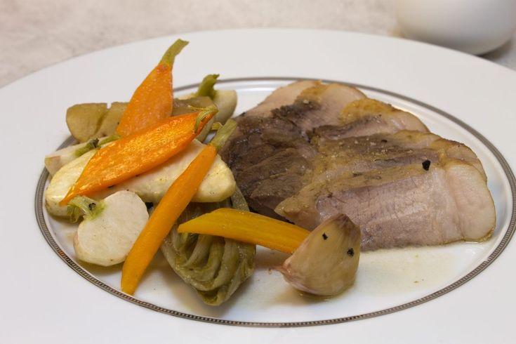 Recette de rouelle de porc et légumes rôtis par Alain Ducasse