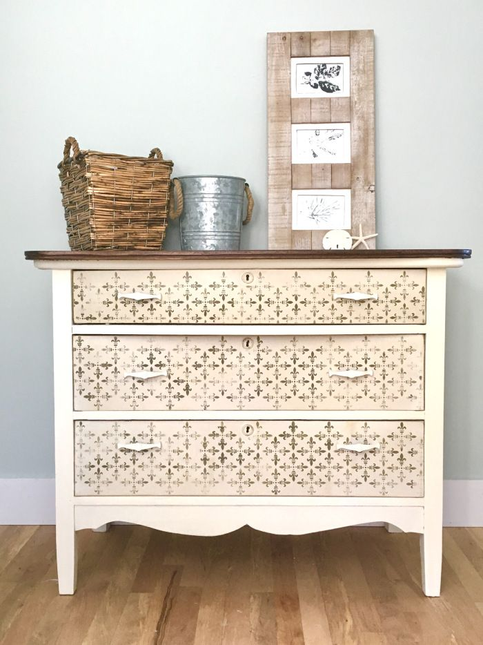 Pairing neutrals with neutrals! The Little Red Door shared a nursery dresser update with Chalk Paint®. The body has two coats of Old White and the drawers were done in Cream, followed by a textured layer of Old Ochre. Stenciling is with Olive. Lovely!