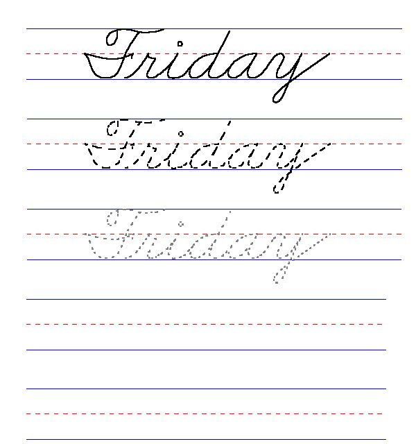 handwriting for kids cursive day of the week friday 2nd grade handwriting practice. Black Bedroom Furniture Sets. Home Design Ideas