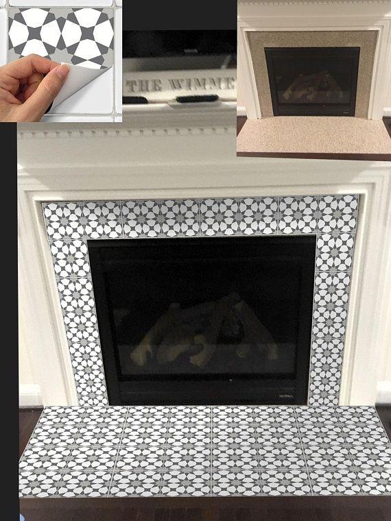 Tile Sticker Kitchen Bath Floor Fireplace Removable Peel Etsy Wallpaper Fireplace Tile Stickers Kitchen Fireplace Tile