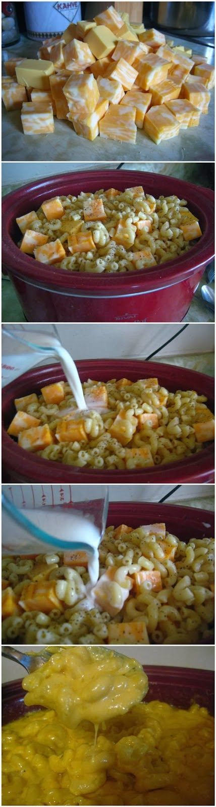 Crock Pot Mac and Cheese ~ Bestrecipedata..Ingredients: 16 ounces macaroni 16 ounces Monterey Jack cheese, cubed 16 ounces Colby cheese, cubed 16 ounces Velveeta (cubed) 1 stick of butter, cut into slices 16 ounces milk salt & pepper, to taste