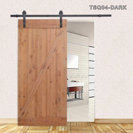 Calhome 36 In X 84 In Z Bar 1 Panel Primed Natural Wood Finish Sliding Barn Door With Sliding Door Hardware Kit Tsq04 Dark Barn Style Doors Glass Barn Doors Sliding Door Hardware