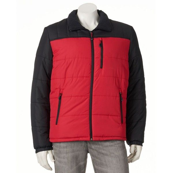 Men's ZeroXposur Flex Colorblock ThermoCloud Puffer Jacket (£48) ❤ liked on Polyvore featuring men's fashion, men's clothing, men's activewear, men's activewear jackets, med red and mens activewear