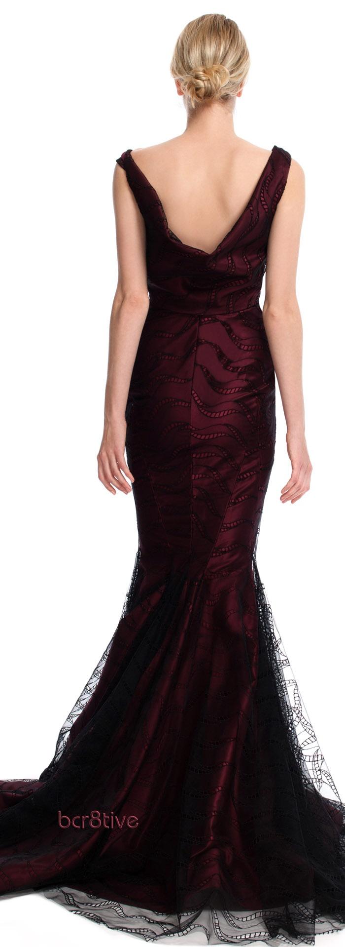 Zac Posen Bateau Neck Mermaid Evening Gown