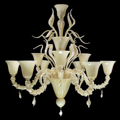 9 lights #SemiRezzonico #chandelier. Ivory color.