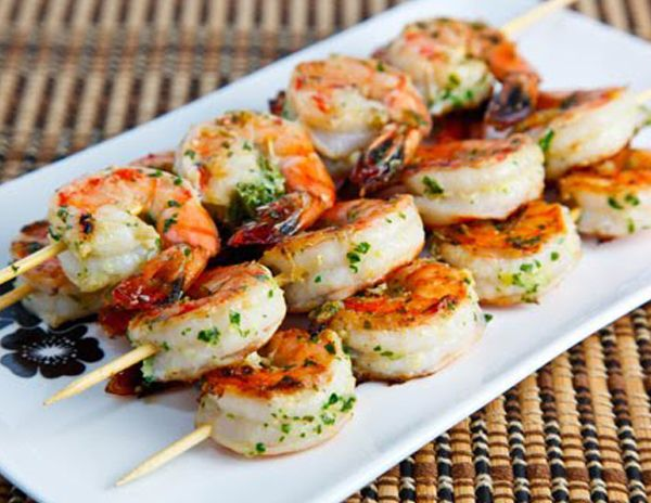 garlic & lemon shrimp kebabs Australia Day food.