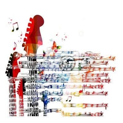 Fotomural Color de fondo música de la guitarra. Vector