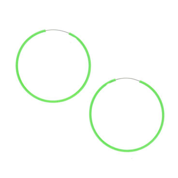 Neon Green Hoop Earrings