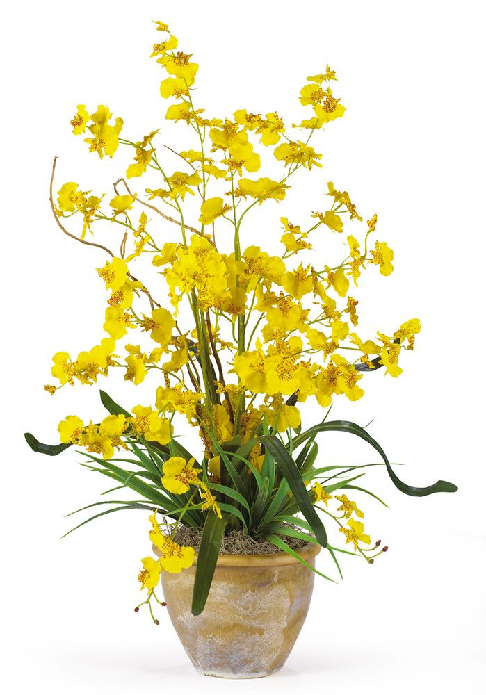 Nearly Natural Dancing Lady Silk Orchid Flowers in Yellow
