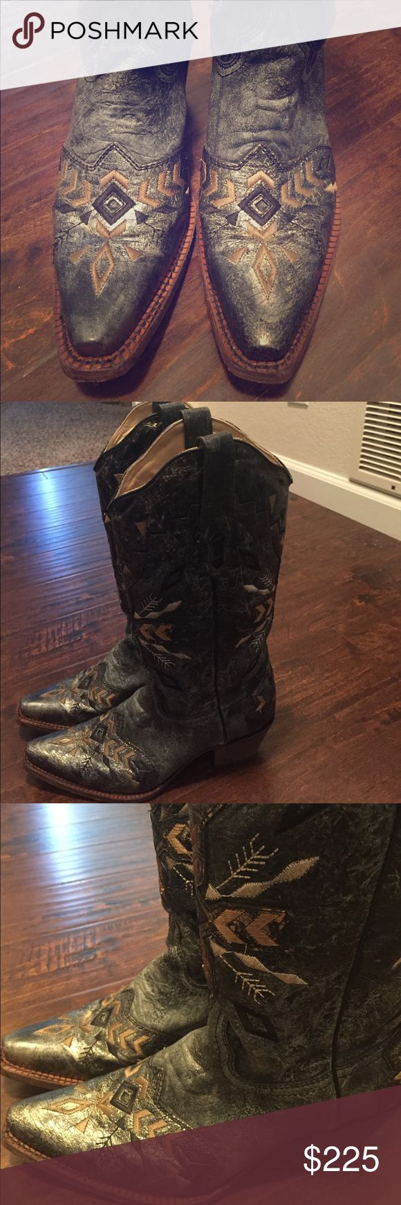 🆕 Pair of Corral Vintage Boots Never worn, tags still attached and purchased in Austin. Aztec pattern with metallic gold throughout boots. Boot itself is a dark gray with some black stitching. Corral Shoes Heeled Boots
