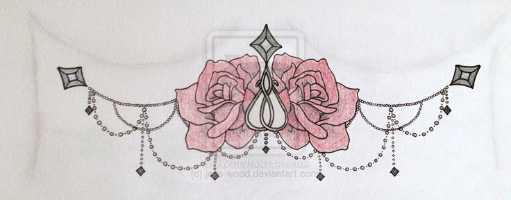 Roses and Chains Underboob Sternum Tattoo