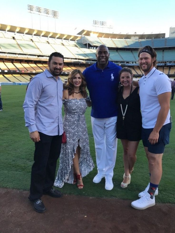 Stars are out at Kershaw Ping Pong 4 Purpose charity event at Dodger Stadium - Adrian Gonzalez, his wife Betsy, Magic Johnson, Ellen Kershaw, and Clayton Kershaw