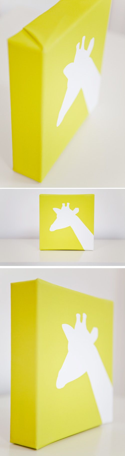 Cut out with cricut.   Paint Canvas.  Peel off vinyl to leave shadow of object.   Great craft for boys rooms