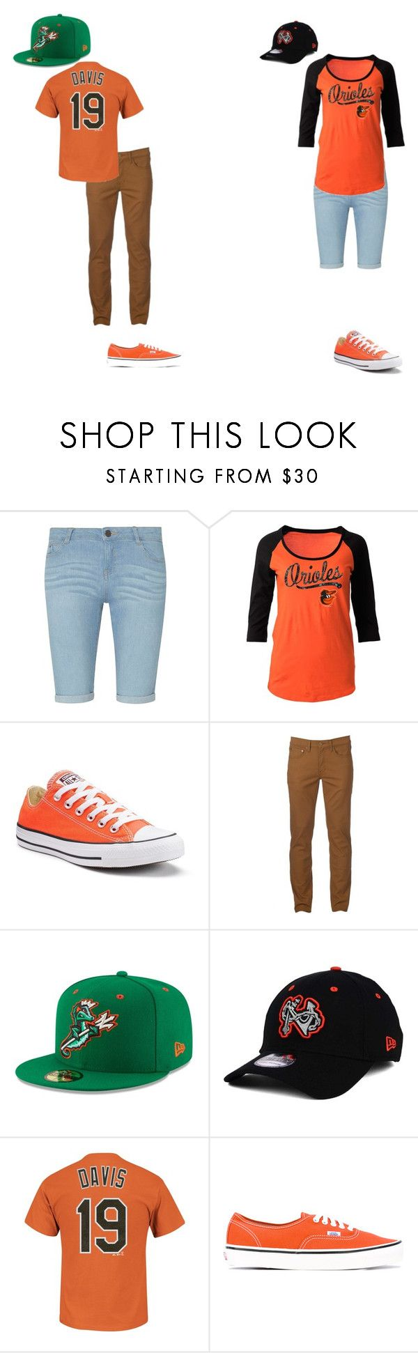 """""""Untitled #1415"""" by lauren-skeens ❤ liked on Polyvore featuring Dorothy Perkins, 5th & Ocean, Converse, Urban Pipeline, New Era, Majestic and Vans"""