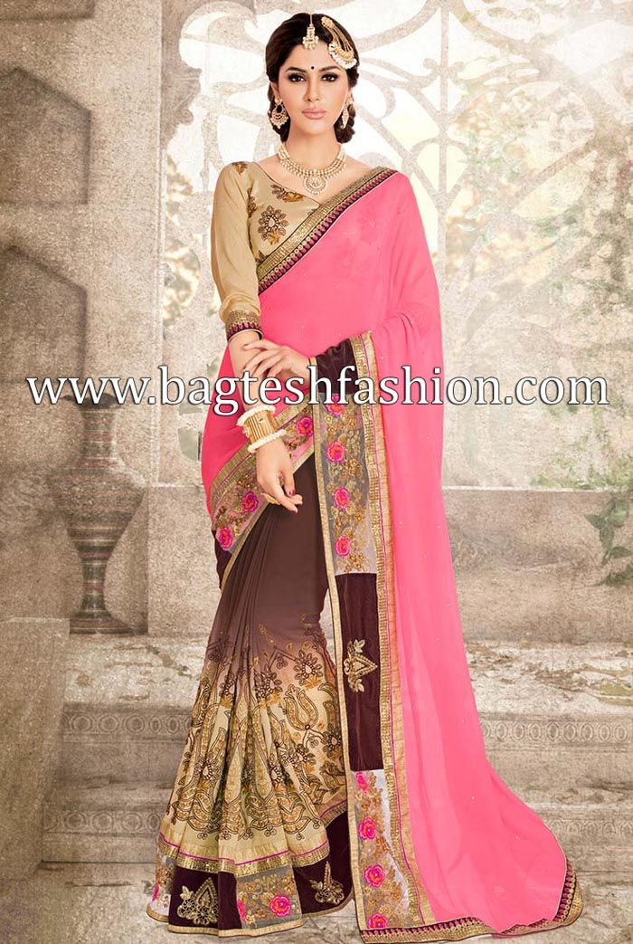 Gorgeous Pink And Brown Georgette Saree