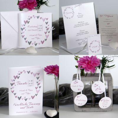 """Traufkarten mit Flair """"Herzring"""" rosa und grau"""