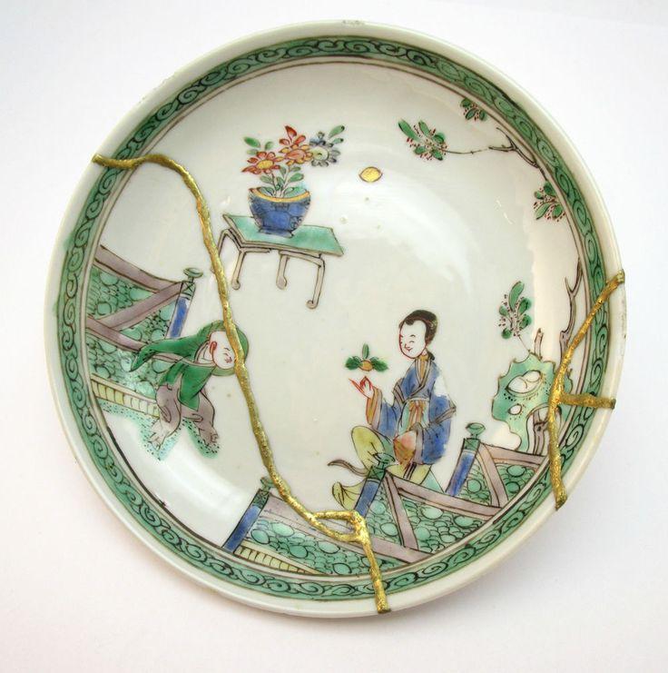 Antique 18thc Chinese Kangxi Famille Verte Porcelain Plate