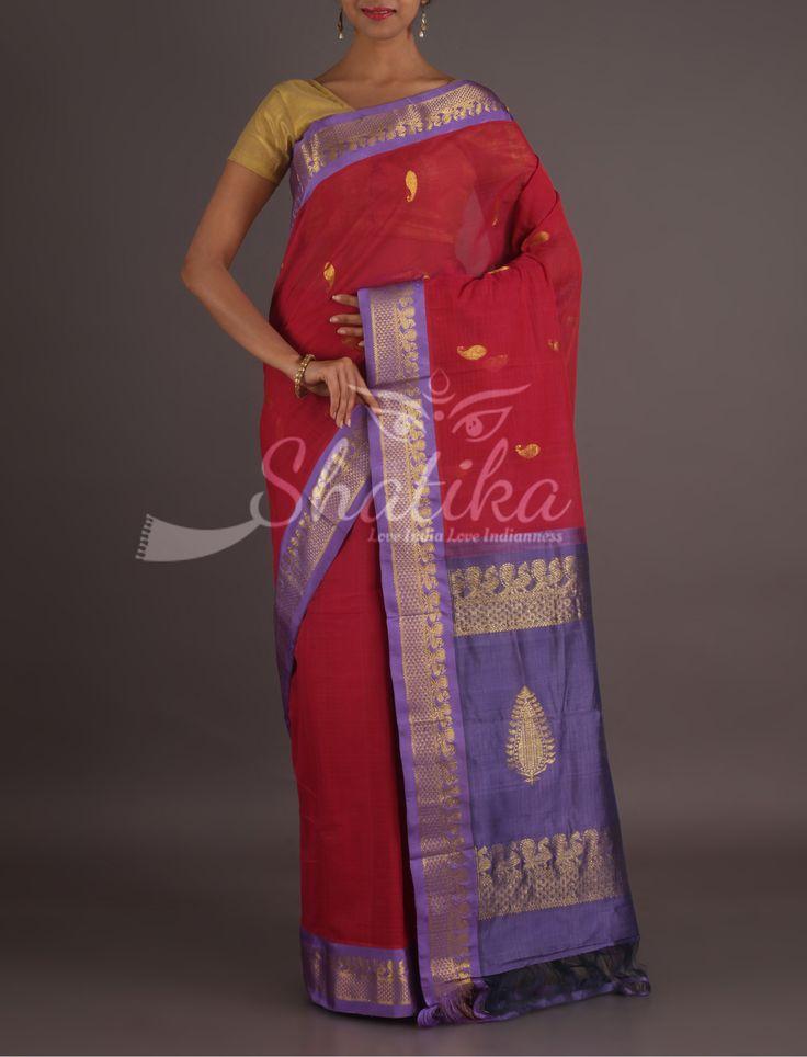 Vasudha Hot And Cool Ornate Border Gadwal Pure Cotton Saree