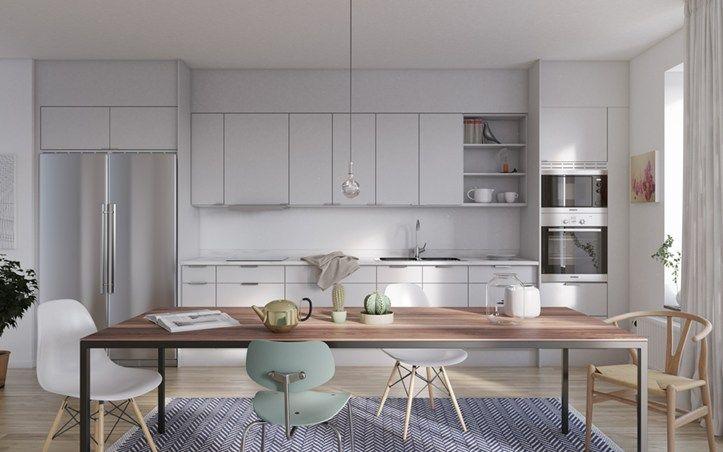 Kök med marmorbänkskivor, integrerad diskmaskin och spotlights. Riksbyggens Brf Vingården i Beckomberga, Bromma