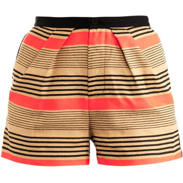Sea Cotton linen stripe shorts (2,630 MXN) ❤ liked on Polyvore featuring shorts, bottoms, short, high-waisted shorts, short shorts, high waisted short shorts, neon pink shorts and stripe shorts