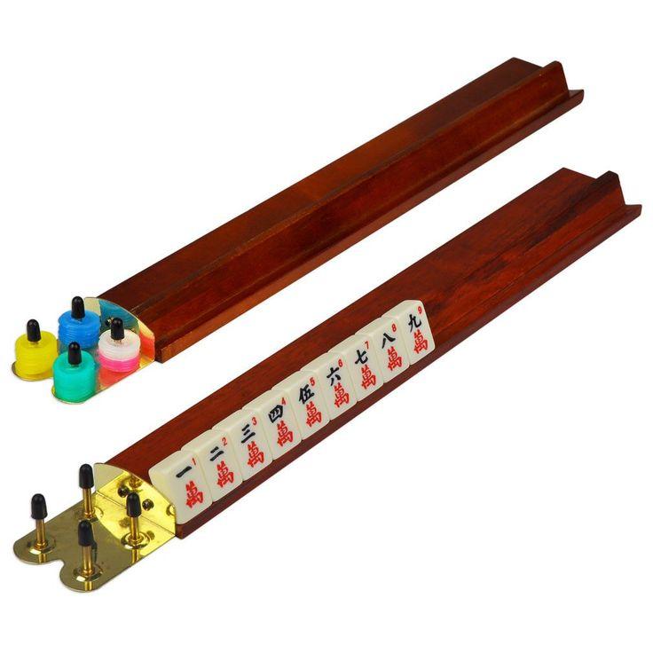 """18"""" Classic Wooden Mahjong Racks - Mahogany Color - Set of 4"""