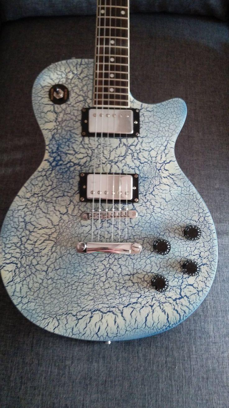 Guitare Custom Type Les Paul Bleu Craquelé – volumes Indépendant Tonalité 50s