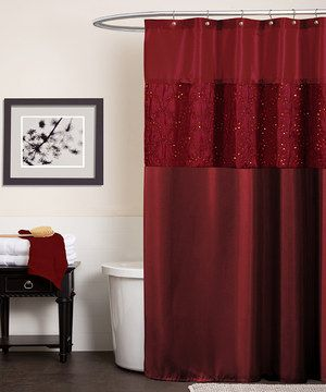 Shower in style with this classy curtain. Showcasing cord embroidery and sequin details alongside red taffeta, this sophisticated accent can easily be installed for an instant bathroom makeover.