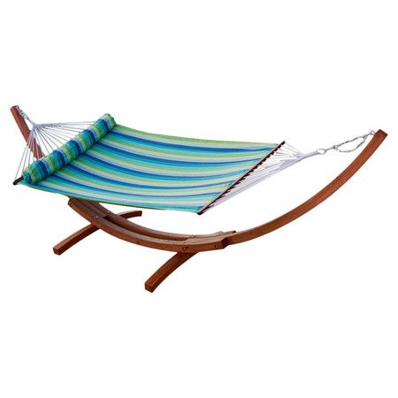 Weather-resistant Sun sharp fabric hammock bed with Cyprus wood spreader bars.  Product: Hammock bed and standConstr...