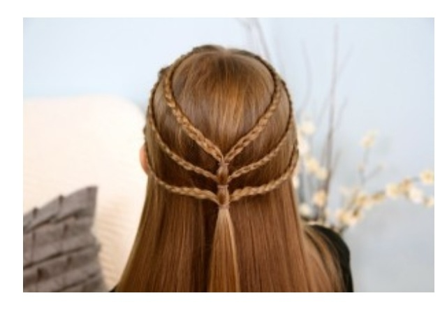 Triple braided tie back for medium to long length hair.