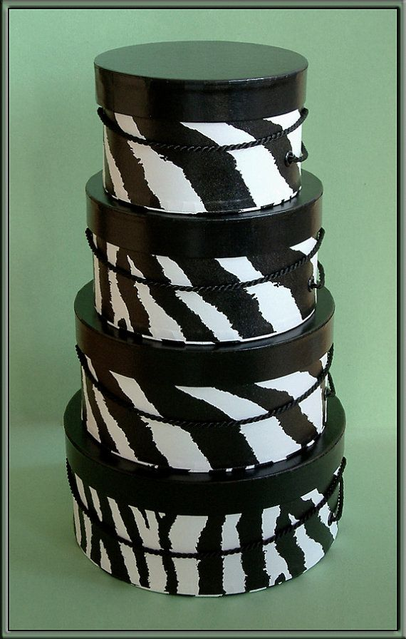 Stylish Black & White Zebra Pattern Hat Boxes