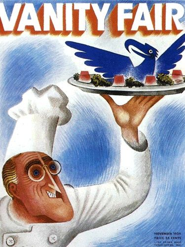 American Graphic Design    A 1934 Vanity Fair cover designed by Miguel Covarrubias under the art direction of Mehemed Agha.    The Blue Eagle took a lot of lampooning during its short duration.