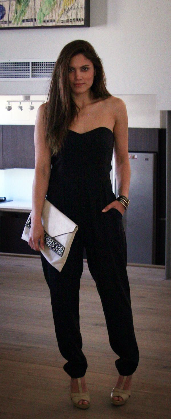 Mary Sinatsaki in her #black #BSB_SS14 jumpsuit! #BSB #collection