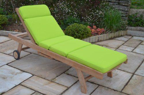 Classic Garden Sun Lounger Cushion - Cushion Only - Apple Green ...