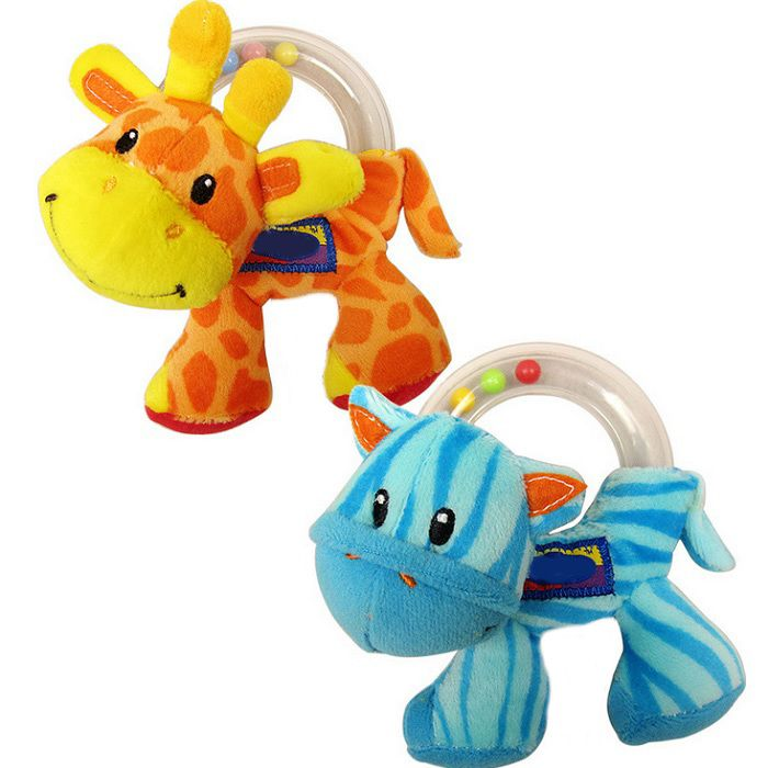 New 1pc Baby Toy Cute Plush Rattle Baby Holding Animal Toy Ring Balls  Early Educational Doll