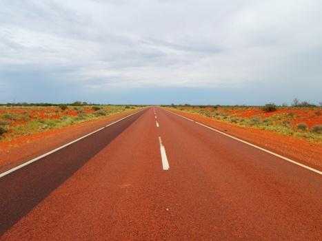 Through the sunny red Australian desert.