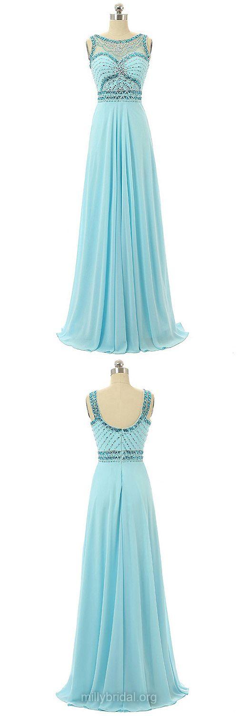 Long Prom Dresses Blue,A-line Prom Dresses 2018,Scoop Neck Formal Dresses Chiffon, Beading Prom Dresses for Teens