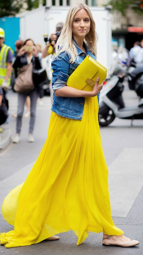 Charlotte Groeneveld of The Fashion Guitar in a Yellow Maxi Dress and a Yellow Celine Box Bag Chloe dress / Levi's jacket / Valentino shoes / Celine bag.  Cool Chic Style Fashion's Picks     @sofieval