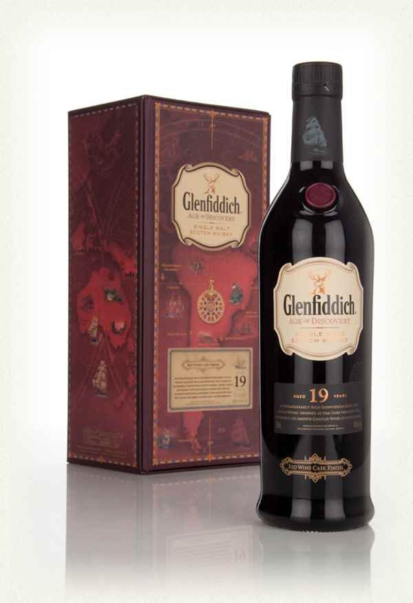 Glenfiddich 19 Year Old - Age of Discovery Red Wine Cask Finish Lacking in complexity unlike the 1 master of malt review, but very smooth. Can't taste the wine.