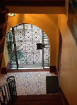 Cuban cement tiles look great in the entry of this 1920's Spanish style home