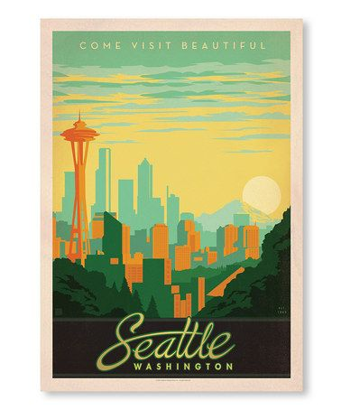 Love this graphic style! Look what I found on #zulily! 'Seattle Washington' Wall Art #zulilyfinds