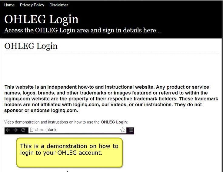 ohleg login page